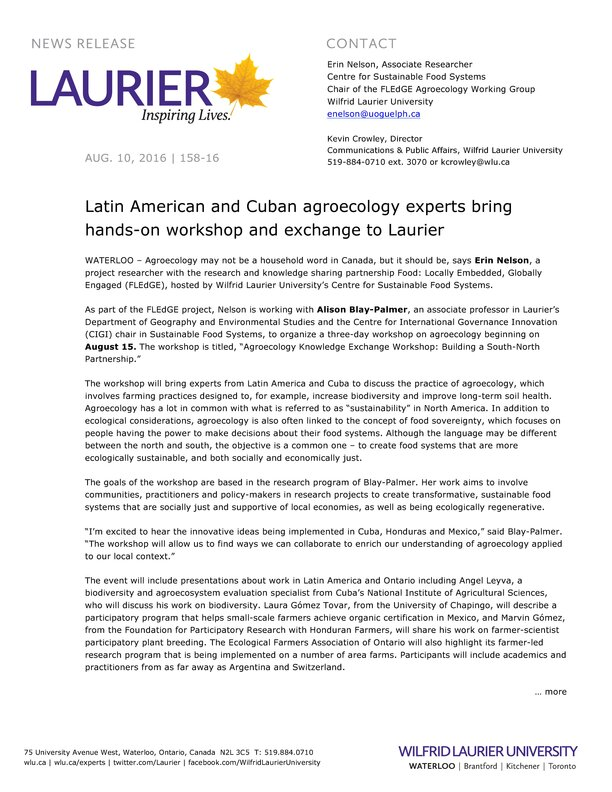 158-2016 : Latin American and Cuban agroecology experts bring hands-on workshop and exchange to Laurier