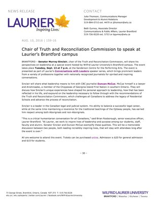 159-2016 : Chair of Truth and Reconciliation Commission to speak at Laurier's Brantford campus