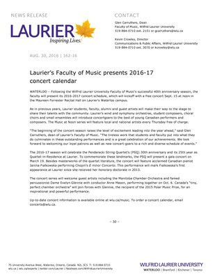 162-2016 : Laurier's Faculty of Music presents 2016-17 concert calendar