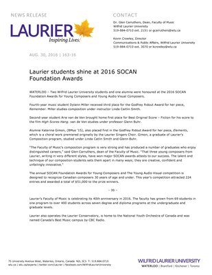 163-2016 : Laurier students shine at 2016 SOCAN Foundation Awards