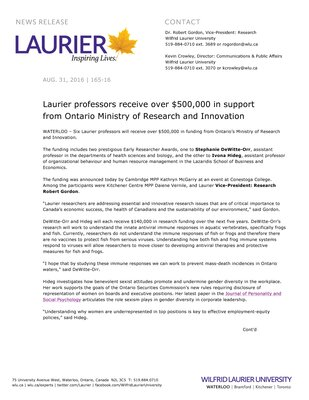 165-2016 : Laurier professors receive over $500,000 in support from Ontario Ministry of Research and Innovation
