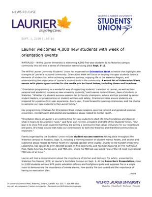 166-2016 : Laurier welcomes 4,000 new students with week of orientation events