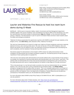 167-2016 : Laurier and Waterloo Fire Rescue to host live room burn demo during O-Week