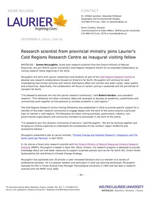 169-2016 : Research scientist from provincial ministry joins Laurier's Cold Regions Research Centre as inaugural visiting fellow