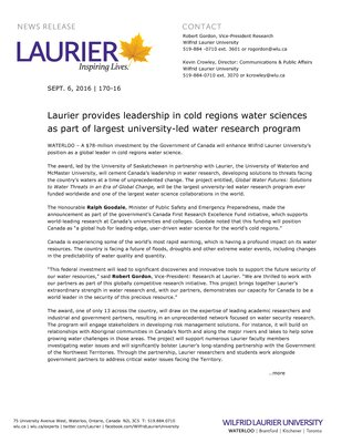 170-2016 : Laurier provides leadership in cold regions water sciences as part of largest university-led water research program