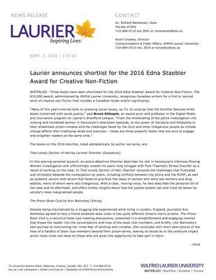 173-2016 : Laurier announces shortlist for the 2016 Edna Staebler Award for Creative Non-Fiction