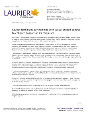 175-2016 : Laurier formalizes partnerships with sexual assault centres to enhance support on its campuses