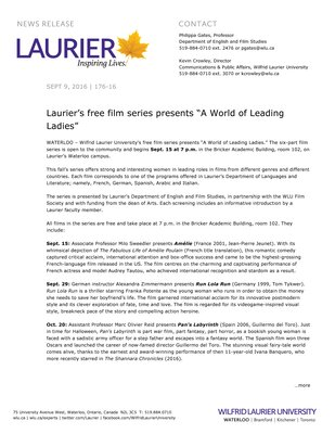 """176-2016 : Laurier's free film series presents """"A World of Leading Ladies"""""""
