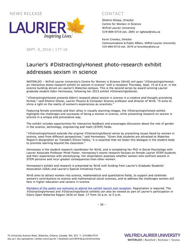 177-2016 : Laurier's #DistractinglyHonest photo-research exhibit addresses sexism in science