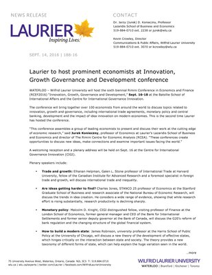 188-2016 : Laurier to host prominent economists at Innovation, Growth Governance and Development conference
