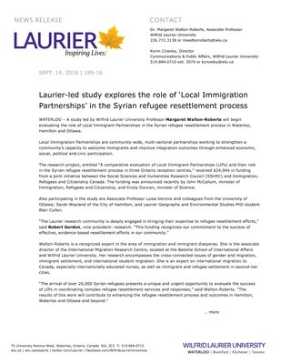 189-2016 : Laurier-led study explores the role of 'Local Immigration Partnerships' in the Syrian refugee resettlement process