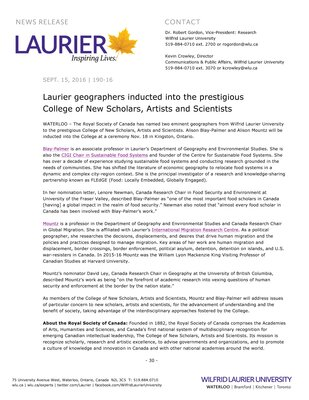 190-2016 : Laurier geographers inducted into the prestigious College of New Scholars, Artists and Scientists