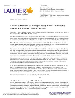 198-2016 : Laurier sustainability manager recognized as Emerging Leader at Canada's Clean50 awards