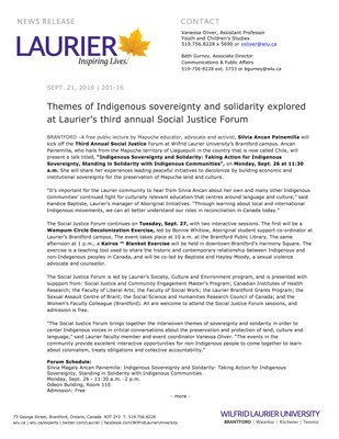201-2016 : Themes of Indigenous sovereignty and solidarity explored at Laurier's third annual Social Justice Forum
