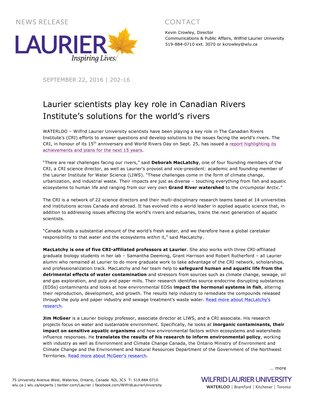 202-2016 : Laurier scientists play key role in Canadian Rivers Institute's solutions for the world's rivers