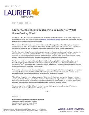 211-2016 : Laurier to host local film screening in support of World Breastfeeding Week