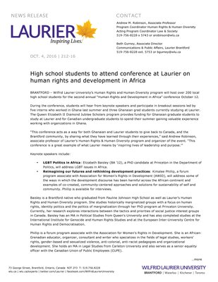 212-2016 : High school students to attend conference at Laurier on human rights and development in Africa