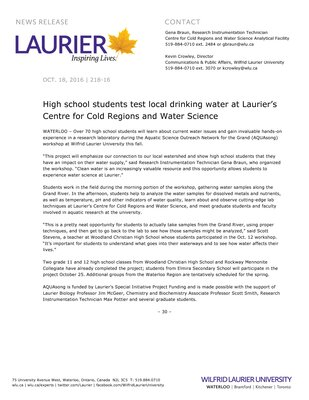 218-2016 : High school students test local drinking water at Laurier's Centre for Cold Regions and Water Science