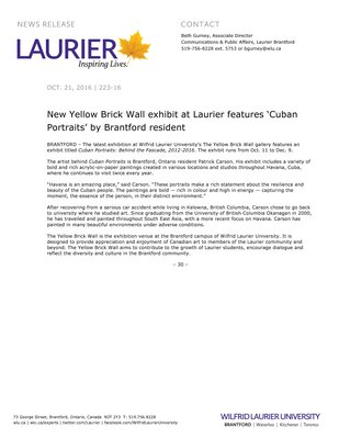 223-2016 : New Yellow Brick Wall exhibit at Laurier features 'Cuban Portraits' by Brantford resident