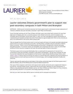 226-2016 : Laurier welcomes Ontario government's plan to support new post-secondary campuses in both Milton and Brampton