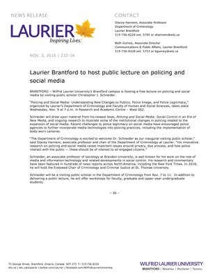 232-2016 : Laurier Brantford to host public lecture on policing and social media