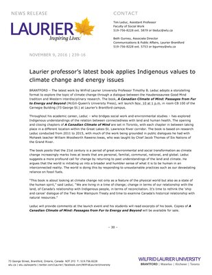 239-2016 : Laurier professor's latest book applies Indigenous values to climate change and energy issues
