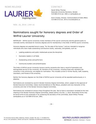 244-2016 : Nominations sought for honorary degrees and Order of Wilfrid Laurier University