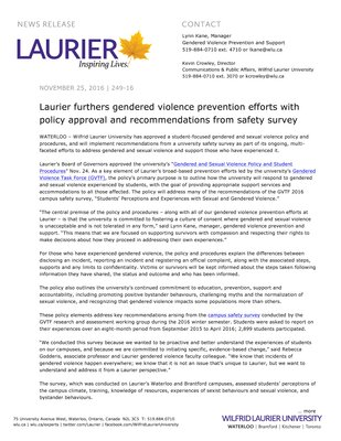 249-2016 : Laurier furthers gendered violence prevention efforts with policy approval and recommendations from safety survey