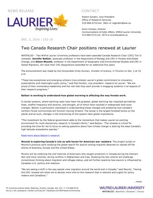 252-2016 : Two Canada Research Chair positions renewed at Laurier
