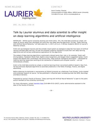 255-2016 : Talk by Laurier alumnus and data scientist to offer insight on deep learning algorithms and artificial intelligence