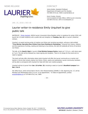 003-2018 : Laurier writer-in-residence Emily Urquhart to give public talk