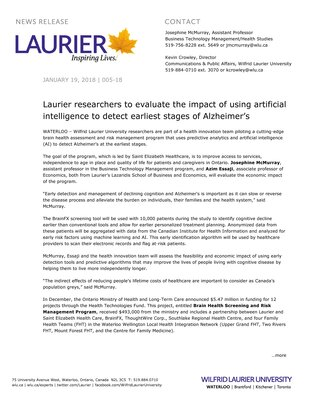 005-2018 : Laurier researchers to evaluate the impact of using artificial intelligence to detect earliest stages of Alzheimer's