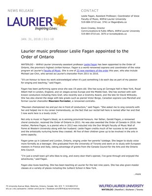 011-2018 : Laurier music professor Leslie Fagan appointed to the Order of Ontario