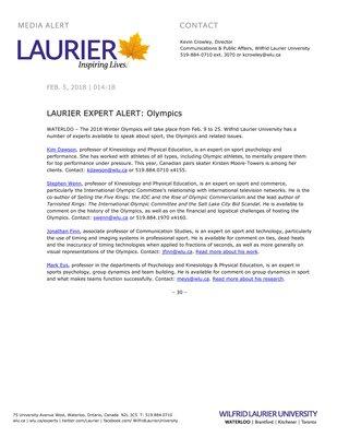 014-2018 : LAURIER EXPERT ALERT: Olympics