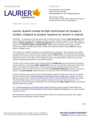 016-2018 : Laurier student invited to High Commission of Canada in London, England to present research on sexism in science