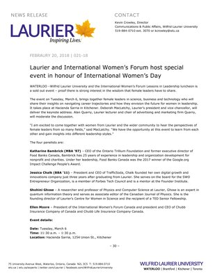 021-2018 : Laurier and International Women's Forum host special event in honour of International Women's Day