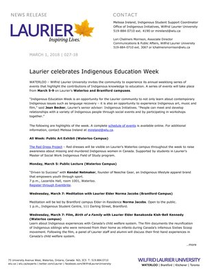 027-2018 : Laurier celebrates Indigenous Education Week