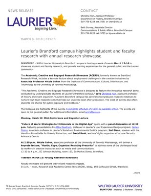 033-2018 : Laurier's Brantford campus highlights student and faculty research with annual research showcase