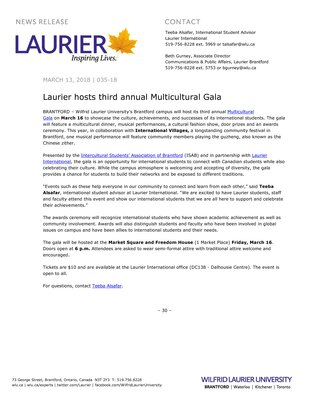 035-2018 : Laurier hosts third annual Multicultural Gala