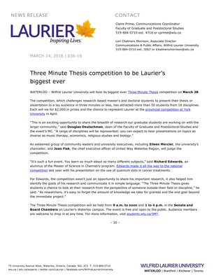 036-2018 : Three Minute Thesis competition to be Laurier's biggest ever