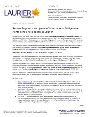 048-2018 : Romeo Saganash and panel of international Indigenous rights scholars to speak at Laurier