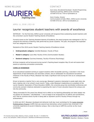 053-2018 : Laurier recognizes student teachers with awards of excellence