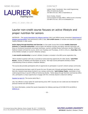 056-2018 : Laurier non-credit course focuses on active lifestyle and proper nutrition for seniors
