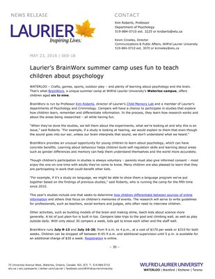 069-2018 : Laurier's BrainWorx summer camp uses fun to teach children about psychology