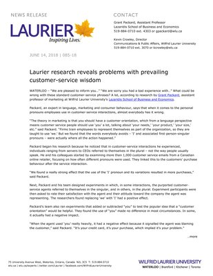 085-2018 : Laurier research reveals problems with prevailing customer-service wisdom