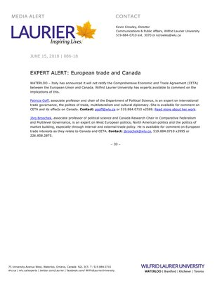 DO NOT MAKE PUBLIC -- 086-2018 : EXPERT ALERT: European trade and Canada