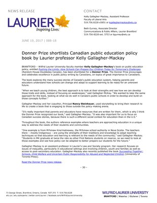 088-2018 : Donner Prize shortlists Canadian public education policy book by Laurier professor Kelly Gallagher-Mackay