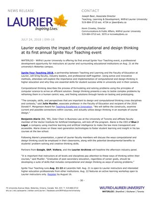 099-2018 : Laurier explores the impact of computational and design thinking at its first annual Ignite Your Teaching event