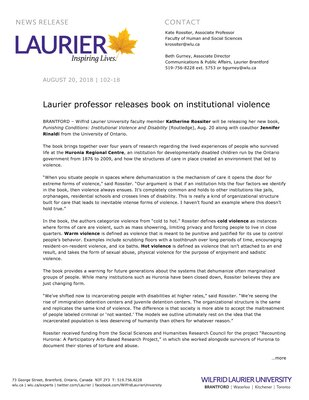 102-2018 : Laurier professor releases book on institutional violence