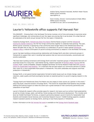 103-2018 : Laurier's Yellowknife office supports Fall Harvest Fair